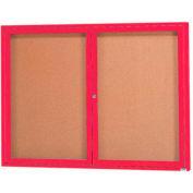 "Aarco 2 Door Framed Enclosed Bulletin Board Red Powder Coat - 48""W x 36""H"