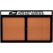 "Aarco 2 Door Aluminum Framed Bulletin Board w/ Header Black Powder Coat - 60""W x 36""H"