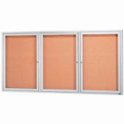 "Aarco 3 Door Framed Enclosed Bulletin Board - 72""W x 36""H"