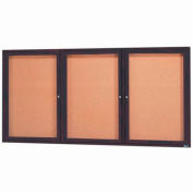 "Aarco 3 Door Framed Enclosed Bulletin Board Bronzed Anod. - 72""W x 36""H"