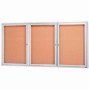 "Aarco 3 Door Framed Illuminated Enclosed Bulletin Board - 72""W x 36""H"