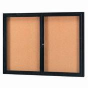 "Aarco 2 Door Framed Enclosed Bulletin Board Black Powder Coat - 60""W x 48""H"