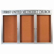 "Aarco 3 Door Aluminum Framed Bulletin Board w/ Header - 72""W x 48""H"