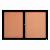 "Aarco 2 Door Framed Enclosed Bulletin Board Black Powder Coat - 72""W x 48""H"