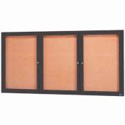 "Aarco 3 Door Framed Enclosed Bulletin Board Bronzed Anod. - 96""W x 48""H"