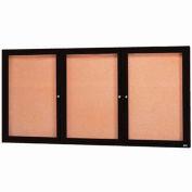 "Aarco 3 Door Framed Enclosed Bulletin Board Black Powder Coat - 96""W x 48""H"