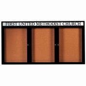 "Aarco 3 Door Aluminum Framed Bulletin Board w/ Header Black Powder Coat - 96""W x 48""H"