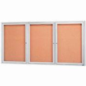 "Aarco 3 Door Framed Illuminated Enclosed Bulletin Board - 96""W x 48""H"