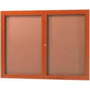 "Aarco 2 Door Frame Wood Look, Oak Enclosed Bulletin Board - 48""W x 36""H"