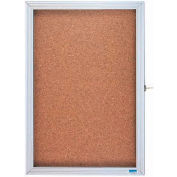 "Aarco 1 Door Enclosed Bulletin Board Cabinet - 18""H x 12""W"