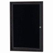 "Aarco 1 Door Enclosed Letter Board Cabinet Black Powder Coated - 24""W x 36""H"