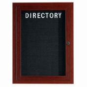 "Aarco 1 Door Aluminum Frame Wood Look, Walnut Enclosed Letter Board - 18""W x 24""H"