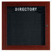 "Aarco 1 Door Aluminum Frame Wood Look, Walnut Enclosed Letter Board - 36""W x 36""H"