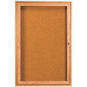 """Aarco 1 Door Oak Enclosed Bulletin Board - 24""""W x 36""""H"""
