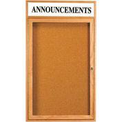 """Aarco 1 Door Oak Enclosed Bulletin Board w/ Header - 24""""W x 36""""H"""