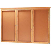 "Aarco 3 Door Red Oak Bulletin Board w/ Crown Molding - 72""W x 48""H"
