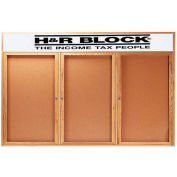 """Aarco 3 Door Oak Enclosed Bulletin Board w/ Header - 96""""W x 48""""H"""