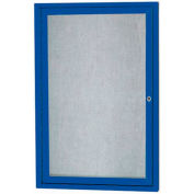 "Aarco 1 Door Aluminum Framed Enclosed Bulletin Board Blue Powder Coat - 18""W x 24""H"