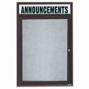 "Aarco 1 Door Enclosed Alum Framed Bulletin Board w/ Header Bronze Anod. - 18""W x 24""H"