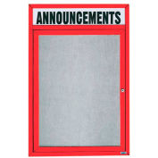 "Aarco 1 Door Enclosed Alum Framed Bulletin Board w/ Header, Illum Red Pc - 18""W x 24""H"
