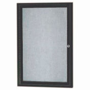"Aarco 1 Door Aluminum Framed Enclosed Bulletin Board Bronze Anod. - 24""W x 36""H"