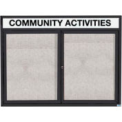 "Aarco 2 Door Enclosed Alum Framed Bulletin Board w/ Header Black Pc - 48""W x 36""H"