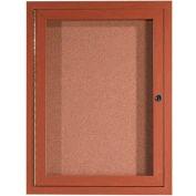 "Aarco 1 Door Aluminum Frame Wood Look, Oak Enclosed Bulletin Board - 18""W x 24""H"