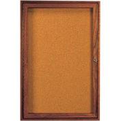 "Aarco 1 Door Walnut Enclosed Bulletin Board - 24""W x 36""H"