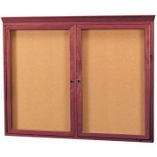 "Aarco 2 Door Red Walnut Bulletin Board w/ Crown Molding - 48""W x 36""H"
