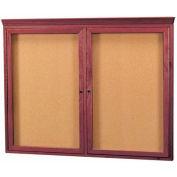 """Aarco 2 Door Red Walnut Bulletin Board w/ Crown Molding - 48""""W x 36""""H"""