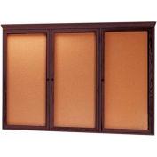 """Aarco 3 Door Red Walnut Bulletin Board w/ Crown Molding - 72""""W x 48""""H"""