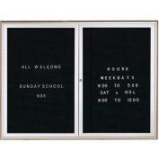 """Aarco 2 Door Water Fall Style Letter Board Silver - 48""""W x 36""""H"""
