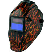 Metal Man® Auto Darkening Welding Helmet, Variable Shade Control - Red Real Flame
