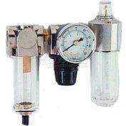 "Arrow 1/8"" Mini F/R & Lubricator 7621, Gauge, Poly Bowl, Manual"