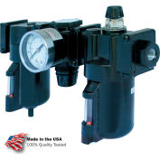"Arrow 3/8"" Modular FRL W/End Ports C33353, Gauge, Poly Bowl, Manual & Arrow Fog Lubricator"