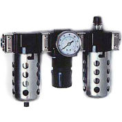 """Arrow 3/8"""" Modular FRL W/End Ports C33453, Gauge, Poly Bowl, Manual & Ultra Fog Lubricator"""
