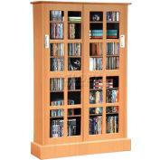 Atlantic® Windowpane 576 CD/192 DVD/216 BluRay Wood Look Cabinet w/Sliding Glass Doors Maple