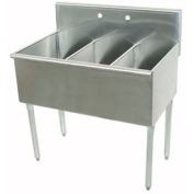 Budget Kitchen Sink, 3 Compartment, 24L x21W Bowl, 16Ga. 430 Stainless Steel