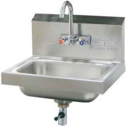 Wall Mounted Hand Sink, Splash Mounted Faucet Lever Drain Unit, 20 Ga.