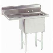 NSF Fabricated 1 Compartment Sink, 18L x 24W Bowl, 8-1/2 Splash, 24H Left Drainboard, 14Ga.