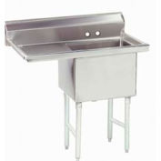 NSF Fabricated 1 Compartment Sink, 24L x 24W Bowl, 8-1/2 Splash, 24H Left Drainboard, 14Ga.