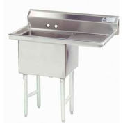 NSF Fabricated 1 Compartment Sink, 24L x 24W Bowl, 8-1/2 Splash, 24H Right Drainboard, 14Ga.