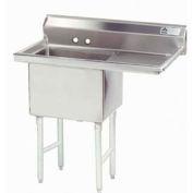 NSF Fabricated 1 Compartment Sink, 24L x 24W Bowl, 8-1/2 Splash, 24H Right Drainboard, 14Ga.
