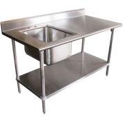 "Advance Tabco KMS-11B-305R-X Work Table W/Right Sink , 60""W x 30""D 5"" Backsplash, Sink Bowl"