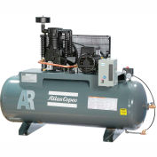 Atlas Copco Two-Stage Electric Air Compressor, Horizontal, 5 HP, 208-230V, 1 PH, 80 Gal