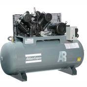 Atlas Copco AR-10, 10HP, Two-Stage Compressor, 120 Gallon, Horiz., 175 PSI, 35 CFM, 3-Phase 208-230V
