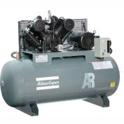 Atlas Copco Two-Stage Electric Air Compressor, Horizontal, 10 HP, 460V, 3 PH, 120 Gal