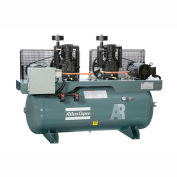 Atlas Copco Two-Stage Duplex Air Compressor, Horizontal, (2) 5 HP, 208-230V, 3 PH, 120 Gal