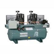 Atlas Copco Two-Stage Duplex Air Compressor, Horizontal, (2) 5 HP, 460V, 3 PH, 120 Gal