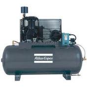 Atlas Copco Two-Stage Duplex Air Compressor, Horizontal, (2) 7.5 HP, 460V, 3 PH, 120 Gal
